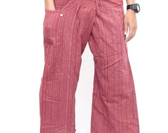 Fisherman Pants Wide Leg Pants Hand Woven Hmong Fabric (PA101-R)