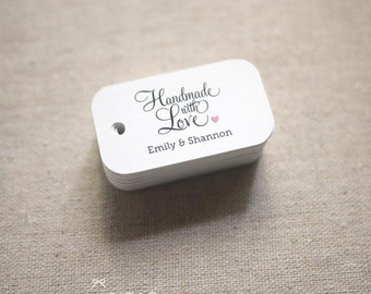 Handmade with Love Personalized Gift Tags - Wedding Favor Tags Thank you tags Hang tags Wedding Gift Tags - Set of 40 (Item code: J514)