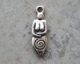 21X6mm Spiral Goddess - High Quality Lead Free Cast Fine Pewter Charm - Pendant, 1 PC (INDOP56)