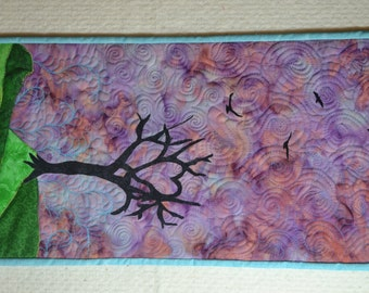 Art Quilt, Wall Hanging, Heart Tree and Birds, Office Decor, Wall Decor