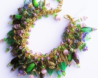 Dragonfly Chunky Charm Bracelet W/ Ladybugs GREEN, PURPLE & Gold Cha Cha Bracelet Ooak Handmade