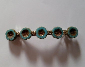 Turquoise Blue Flower Swarovski Crystal French Barrette, for weddings, parties, special occasions