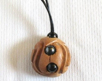 Swarovski pearls - Carved Avocado Seed - Natural Necklace - One Of A Kind Jewelry - Upcycled Art - Brown Necklace - Leather Cording - Unisex