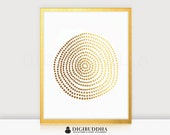 Circle of Dots GOLD FOIL PRINT 8x10 or 5x7 Abstract Hand Drawn Pattern Poster Wall Art Geometric Metallic Gold or Silver Contemporary Modern