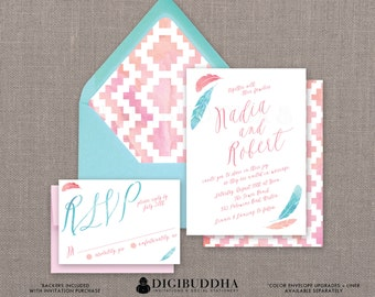 Watercolor Wedding Invitation & RSVP Pink Aqua 2 Piece Suite Boho Feathers Aztec Whimsical Blush Blue CUSTOM COLORS DiY or Printed- Nadia