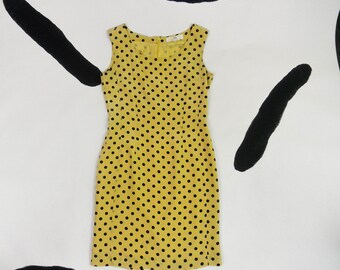 90s Mustard Polka Dot Mini Shift Dress / Wiggle Dress / Clueless / 90210 / Allover Print / Yellow / Minnie / Party Girl / Silk / A line
