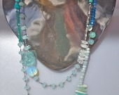 "Ornament for EUROPA, Greek Goddess of the moon and flowers. Oceanic hued gemstones 52"" inches. Lengthy statement necklace"