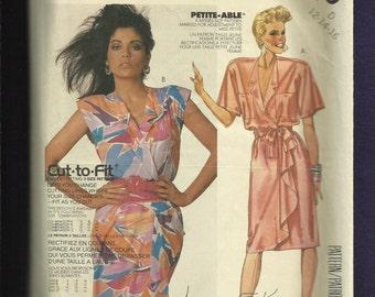 Vintage 1980's McCalls 2519 Drape Front  Wrap Dresses with Shoulder Pads  Size 12..14..16 UNCUT