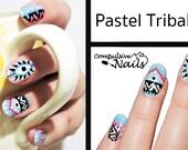 Nail polish strips. TWO SETS of Nail decal wraps. Pastel Aztec Eye Nail Art.