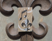 Fleur de lis and Music Note Recycled Roofing Slate Magnet