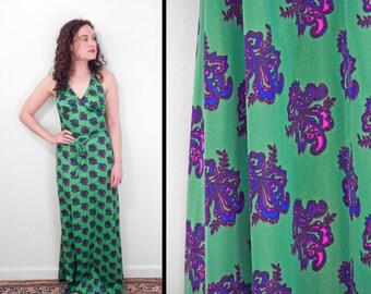 PAISLEY Halter Dress 1970 // Action Scene Green Column // Nylon XS / Small
