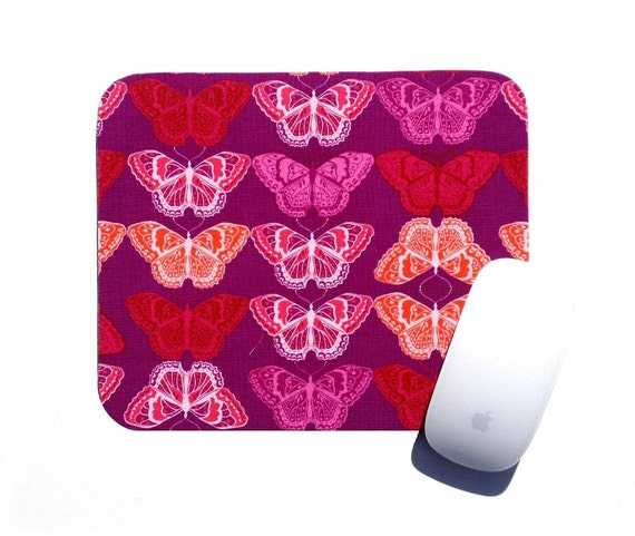 Butterfly Mouse Pad / Magenta Orange Pink / Home Office Desk Accessory / Valori Wells Cocoon / Electronic Home Decor