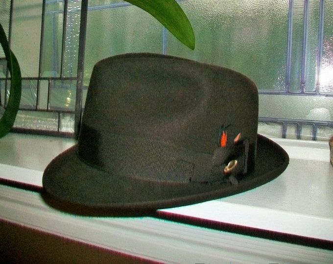 Chocolate Brown Fedora Champ Space Weight Planet Pin Mid Century