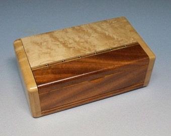 Mahogany & Bird's-eye Maple Inlay Box, Gift Idea, Best Man Gift, Small Wooden Box, Watch Box, Corporate Gift, Small Wooden Box