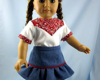 Doll Clothes - 18 Inch - Cowgirl Outfit In Red - Red White Blue - fits American Girl