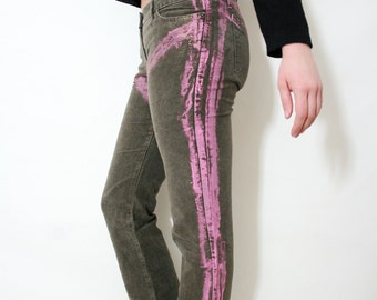 Vintage Roberto Cavalli Artistic Pink Painted Taupe Velvet Shimmery Pants