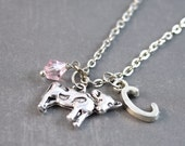 Cow Necklace, Cow Jewelry, Farm Jewelry, Initial Jewelry, Animal Necklace, Animal Pendant, Nature Jewelry, Personalized Necklace
