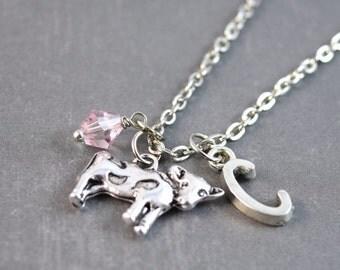 Cow Necklace, Cow Jewelry, Farm Jewelry, Initial Jewelry, Animal Necklace, Animal Pendant, Nature Jewelry, Personalized Necklace