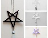 Pentagram Star Gem Symbol Pendant Necklace