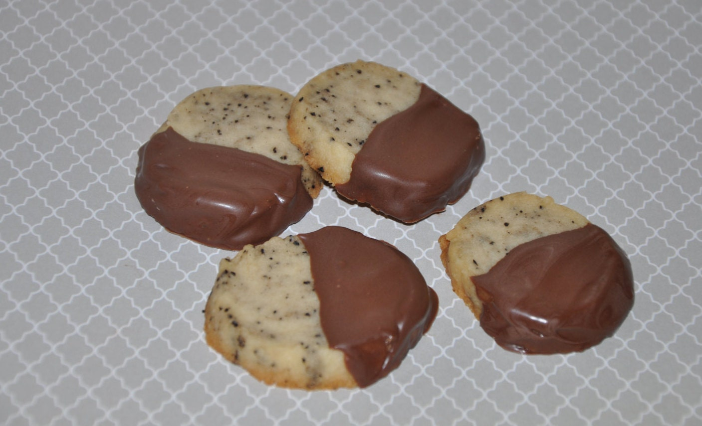 Espresso Coffee Shortbread Cookies Chocolate Dipped 1 dozen