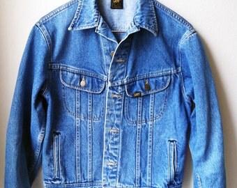 Vintage Lee Light Blue Denim Jean Jacket 70s 80s Western Punk