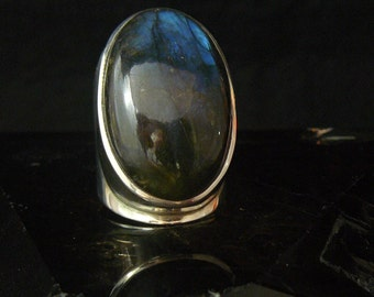 Stunning Large Labadorite Sterling Silver Ring