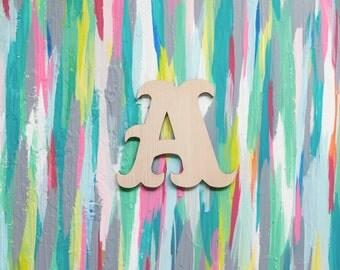 """10"""" Tall Wooden Circus Letter - DIY Party Decoration - Circus Big Top Birthday Party Theme - 10 inch Unfinished Wood Letter Craft Supply"""