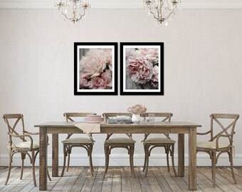 Peony Photography Set, Pink and Grey Decor, Vertical Wall Art, Peach Flower Picture Set, Two Photo Set, Salmon Pink Photograph Set, Peonies