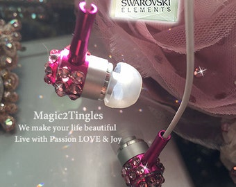 Beautiful Sparkle Silve Gold Pink Crystal 3.5mm Metal Headphone Earphone Earbud for iPhone Samsung HTC 3.5mm Made w/ SWAROVSKI Elements NEW