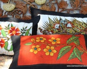 Lumbar Pillow In Sri Lankan Hand Drawn Batik Floral Boho Cushion, Free Shipping