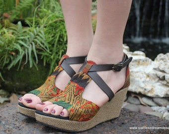 Laos Embroidered Vegan Womens Wedge Sandals Faux Leather Straps - Leighanna