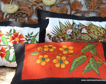 Lumbar Pillow In Sri Lankan Hand Drawn Batik Floral Boho Cushion, Free Shipping