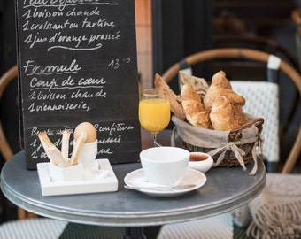 Paris Kitchen Photography - Petit Dejeuner, Breakfast in Paris, Sidewalk Cafe, Large Wall Art, Home Decor, French Kitchen Art