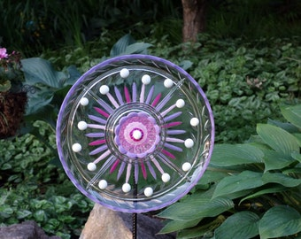 Recycled Garden art, Hand crafted plate flower, Hand Painted Garden Art and garden sun catcher