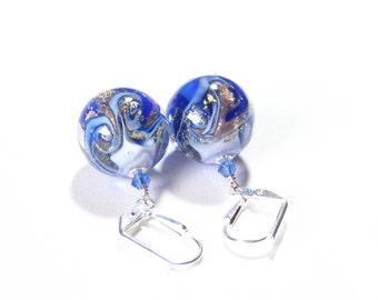 Murano Glass Cobalt Blue White Swirl Ball Earrings, Lampwork Glass Earrings, Venetian Jewelry, Leverback Earrings