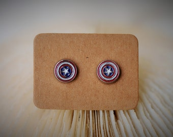 CAPTAIN AMERICA Stud Earrring ~ 7 mm - Girls / Casual / Cutie
