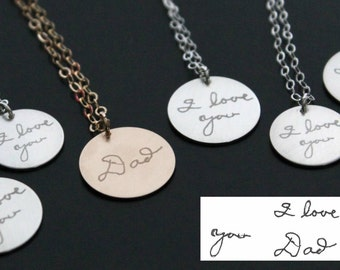 YOUR Actual Exact Fingerprint or Signature Handwriting in Sterling Silver or 14k Gold Filled Personalized Forever Memorial Round Necklace