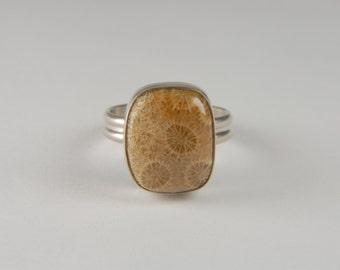 Fossil Coral Ring Artisan Ring Handmade Sterling Silver Ring Gemstone Ring 925 Silver Ring Artisan Jewelry