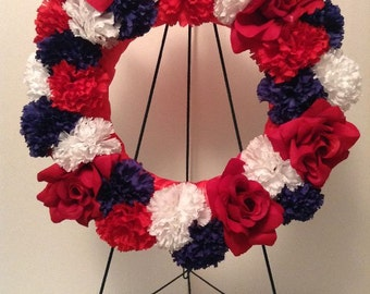 4th Of July Flowers, Patriotic Flowers, Military Wreath, Cemetery Flowers, Red White Blue American Flag, Silk Flowers