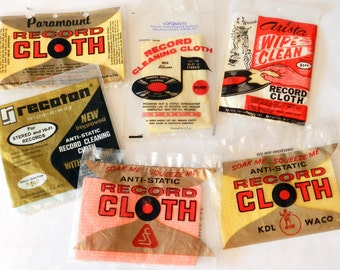 Lot of Six 1960s and 1970s Record Cleaning Cloths, Mint Sealed!
