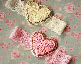 Gold Trimmed Soft Chiffon and Lace Heart Headbands in Ivory and Light Pink - Vintage Style Baby Girl Heart Hair Bows