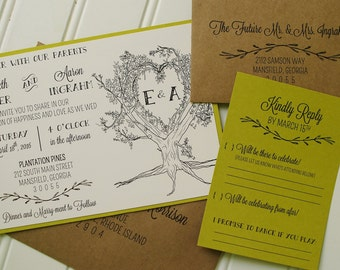 Oak tree wedding invitations | Etsy