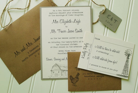 Handmade Rustic Wedding Invitations: Farm Wedding Invitations: Unique Handmade Rustic Kraft And