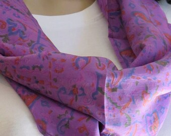 Purple scarf, Silk Infinity Scarf, Summer Scarf, Neck scarf