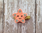 Starfish Hair Clip, Peach Felt Starfish Clip, Starfish Feltie, Sea Animal Hair Clip for Baby, Infant, Toddler, Girl or Adult