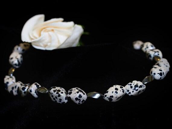 Gemstone Jewelry Necklace - Dalmation Jasper and Hemalyke Gemstone Beaded Necklace