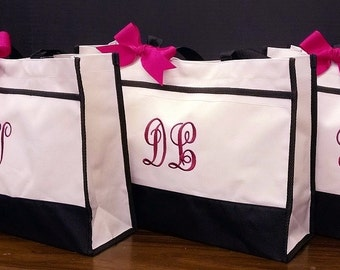 Set of 3 Personalized Bridesmaid Tote Bags Wedding Party Gifts