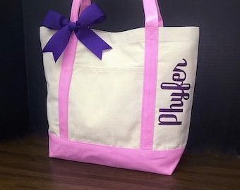 Canvas Tote Bag Personalized Bridesmaids, Flower Girl, Shimmer Heat Vinyl