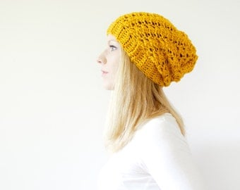 Slouchy hat beanie crocheted - mustard yellow goldenrod - wool - the SUMTER