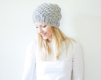 the ICARD hat - spiral chunky knit hat womens slouchy hat beanie - marble